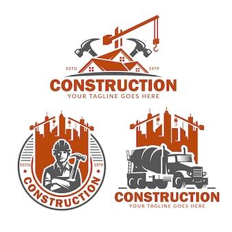 Insieme del modello di logo di costruzione, pacchetto di vettore del logo di costruzione