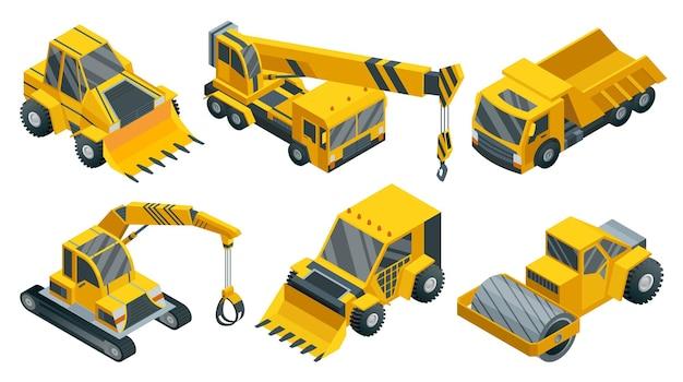 Insieme isometrico di macchine edili. trasporto pesante. collezione di icone che rappresentano l'industria mineraria e stradale pesante. carriera e trasporti edili.