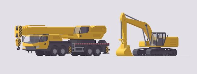 Set di macchine edili. grande gru mobile ed escavatore. illustrazione. collezione