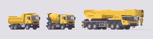 Set di macchine edili. autocarro con cassone ribaltabile, camion betoniera, grande gru mobile. illustrazione. collezione