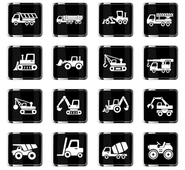 Icone web di macchine edili per la progettazione dell'interfaccia utente