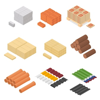 Fornitura di vista isometrica del materiale da costruzione per la ristrutturazione di edifici design element web. illustrazione