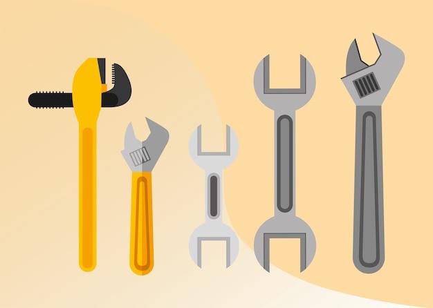 Illustrazione di vettore registrabile della chiave della chiave della chiave dell'attrezzatura degli strumenti dell'idraulico della costruzione