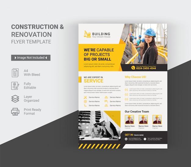 Modello di volantino di costruzione e ristrutturazione