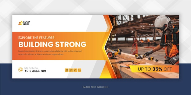 Modello di copertina di facebook per social media di ristrutturazione della costruzione