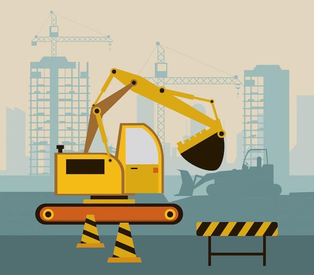 Scena in costruzione con escavatore