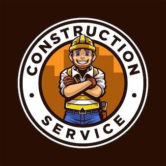 Logo della mascotte dei cartoni animati del servizio di costruzione