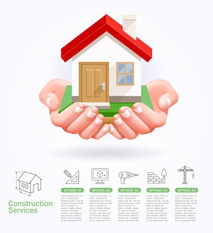 Servizi di costruzione concettuali due mani con illustrazioni di casa