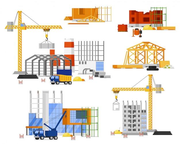 Set di costruzione del cantiere. torre, camion gru edificio città, casa di campagna. struttura isolata in acciaio, cemento, struttura in legno con impalcature. sito di ingegneria edile, industria dell'architettura
