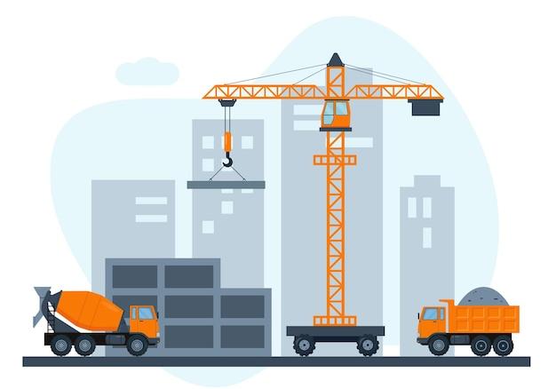 Cantiere con gru e attrezzature per l'edilizia pesante. costruzione di casa in città.