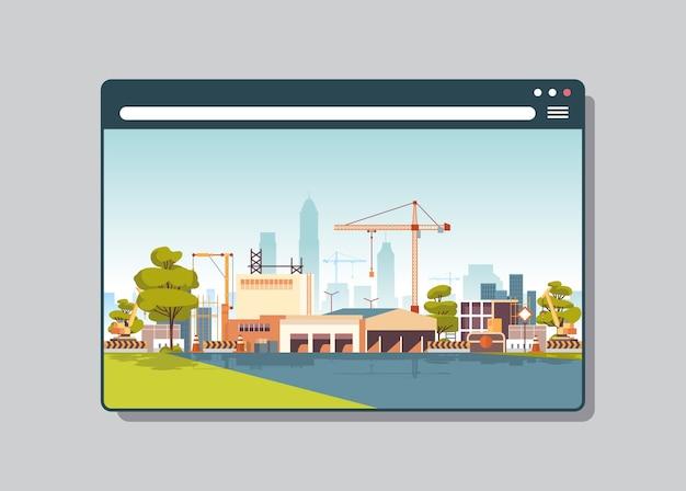 Cantiere con gru nella finestra del browser web edificio digitale