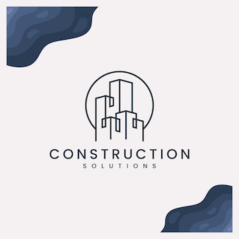 Progettazione di logo di soluzioni di costruzione