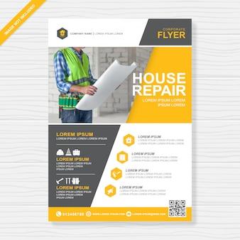 Gli strumenti di costruzione coprono il modello di design a4 flyer