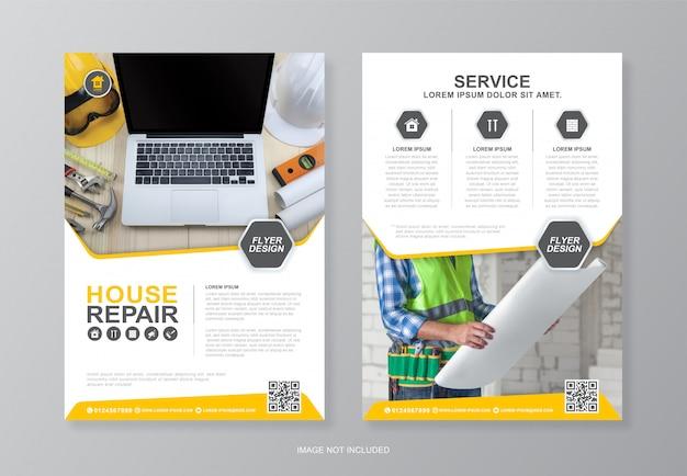 Modello di progettazione volantino a4 per copertina e retro pagina degli strumenti di costruzione
