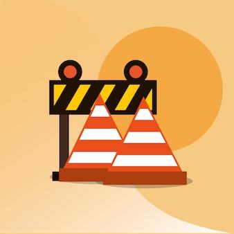 Illustrazione vettoriale di traffico di strumenti di costruzione strumenti barriera e cono