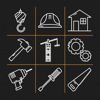 Progettazione dell'insieme dell'icona degli strumenti di costruzione
