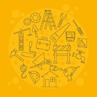 Set di icone di strumenti di costruzione in forma rotonda