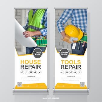 Gli strumenti di costruzione arrotolano il design e il modello di banner in piedi per la mostra
