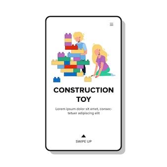 Blocchi di costruzione giocattolo che giocano i bambini
