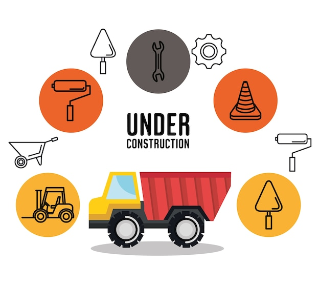Icona degli strumenti del veicolo di ribaltamento del camion in costruzione Vettore Premium