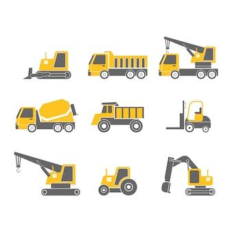 Set di icone di design piatto di veicoli di costruzione