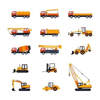 Veicoli da costruzione - set di icone di design piatto moderno vettore. discarica, carburante, pianale, camioncino, betoniera, gru, pala caricatrice, escavatore, retroescavatore, bulldozer, gru, asfaltatrice, livellatrice stradale, carrello elevatore
