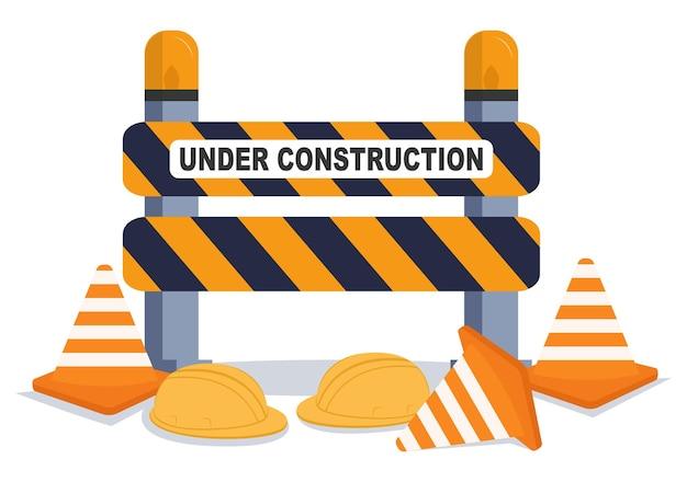 In costruzione con simbolo design piatto illustrazione