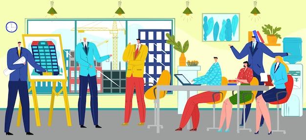 Incontro di lavori di costruzione con team building di persone