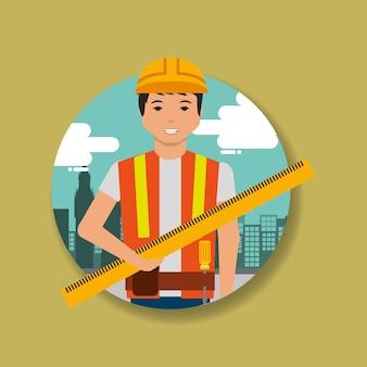 Misurazione del righello della holding del muratore