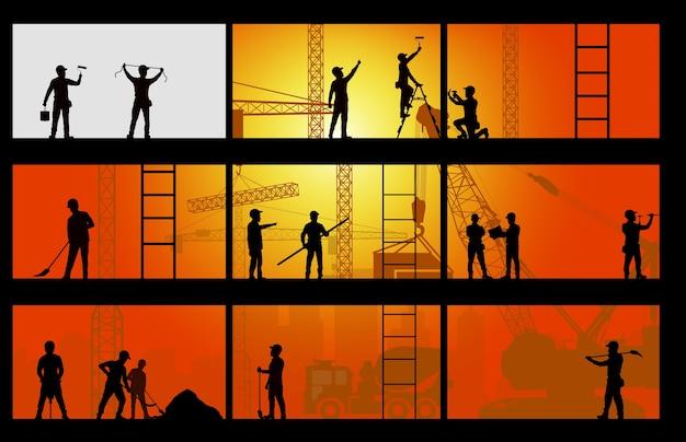 Siluetta del muratore sul fondo del lavoro