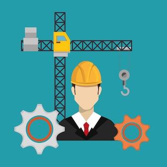 Operaio edile con icone in costruzione