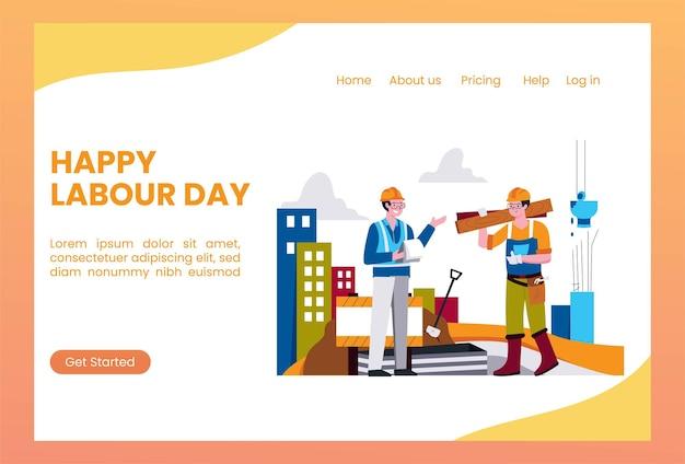 Lavoratori edili del modello di pagina di destinazione della festa del lavoro Vettore Premium