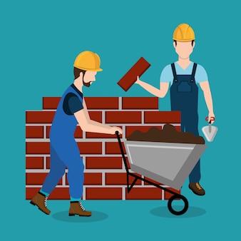 Operai edili con icone in costruzione