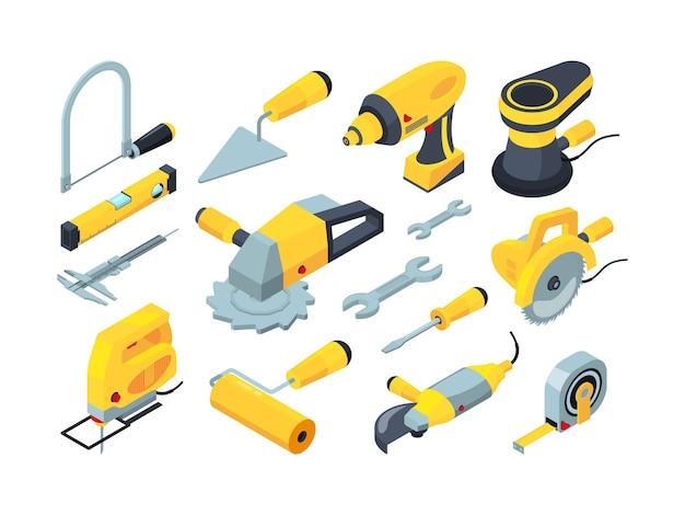 Strumenti di costruzione. trapano a pennello martello misura attrezzature costruttori isometrica. illustrazione martello e cacciavite, attrezzatura per trapano