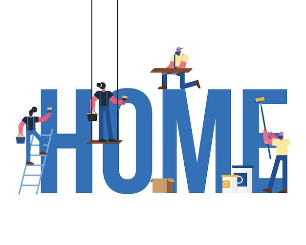 Squadra dei lavoratori dei costruttori che rimodella nella progettazione dell'illustrazione di vettore di parola domestica