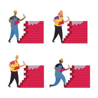 Operai costruttori con personaggi di muri di mattoni