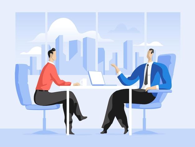 Consulente che riceve un cliente in ufficio