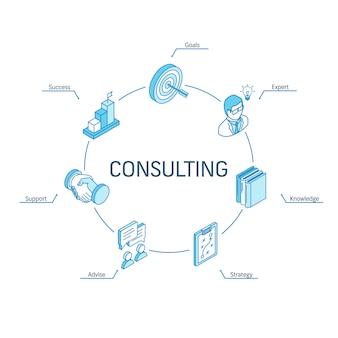 Consulenza concetto isometrico. icone collegate linea 3d. sistema di progettazione infografica a cerchio integrato. simboli di strategia aziendale, consulenza, obiettivi, esperti, successo.