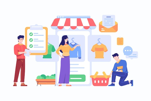 Il consumatore acquista cose di moda e fare shopping online concetto di lista di controllo