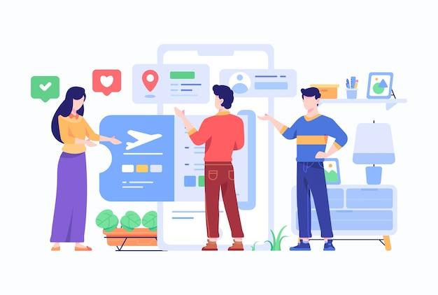 Il consumatore sceglie il biglietto aereo da viaggio offerto dal concetto di applicazione del mercato di e-commerce di compagnie aeree