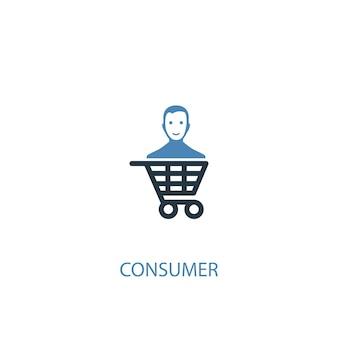 Icona colorata di concetto 2 del consumatore. illustrazione semplice dell'elemento blu. disegno di simbolo del concetto di consumatore. può essere utilizzato per ui/ux mobile e web