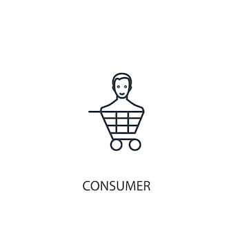 Icona della linea del concetto di consumatore. illustrazione semplice dell'elemento. disegno di simbolo di contorno del concetto di consumatore. può essere utilizzato per ui/ux mobile e web