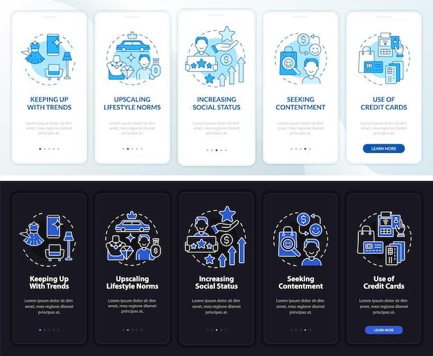 Motivazione del consumismo schermata della pagina dell'app mobile onboarding scura e leggera. procedura dettagliata 5 passaggi istruzioni grafiche con concetti. modello vettoriale ui, ux, gui con illustrazioni lineari in modalità giorno e notte