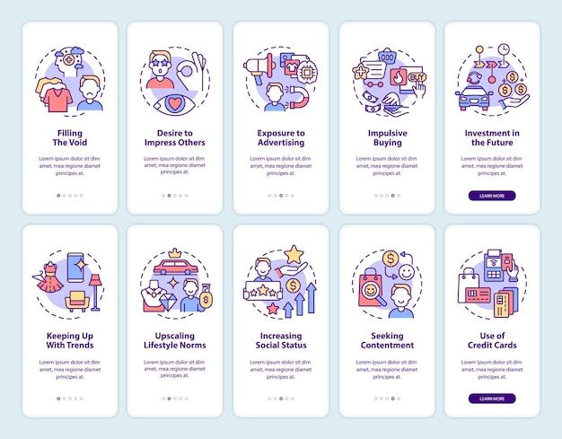 Set di schermate della pagina dell'app mobile onboarding del consumismo. motivi di acquisto eccessivi 5 passaggi istruzioni grafiche con concetti. modello vettoriale ui, ux, gui con illustrazioni a colori lineari