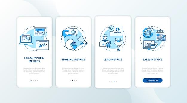 Metriche di consumo e lead durante l'inserimento della schermata della pagina dell'app mobile con i concetti. statistiche sull'efficienza della strategia smm: istruzioni grafiche in 5 passaggi. modello vettoriale dell'interfaccia utente con illustrazioni a colori rgb
