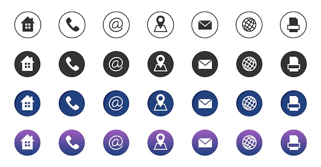 Icone di contatto. raccolta di simboli di comunicazione aziendale di informazioni. chiama le icone di posizione internet, indirizzo, posta e fax. icone del telefono, indirizzo internet, illustrazione del contatto e-mail