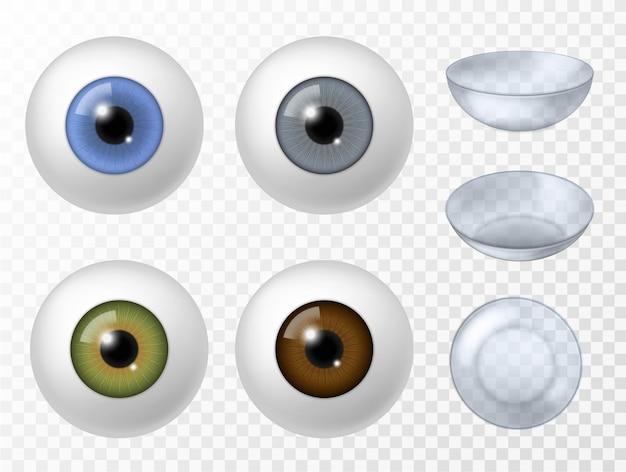Lenti a contatto e occhio umano. vista frontale di struttura dell'iride di colore diverso del bulbo oculare umano realistico, vettore di lenti a contatto per oftalmologia impostato su sfondo trasparente