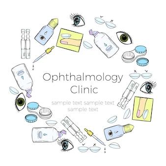 Banner di lenti a contatto per clinica oftalmologica o negozio di lenti pubblicità modello di disegno vettoriale con...