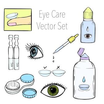 Lenti a contatto, assistenza sanitaria, illustrazione vettoriale, oftalmologia, cartone animato, icone, set, vettore, illustration