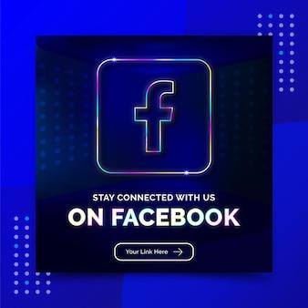 Contattaci pagina aziendale promozione social media banner post modello neon style